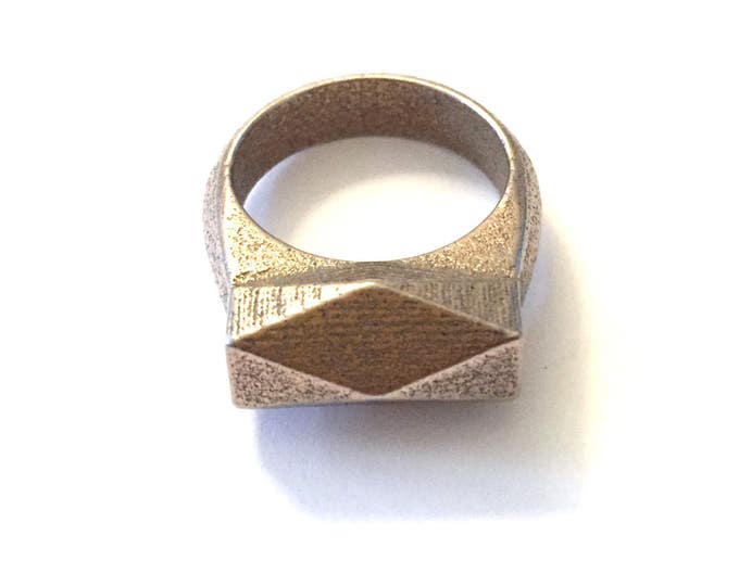 Chunky Hedron Ring Bronze Infused Steel | Geometric Ring | Industrial Jewelry | Textured Heavy Metal | 3d Printed Metal| Modern Style