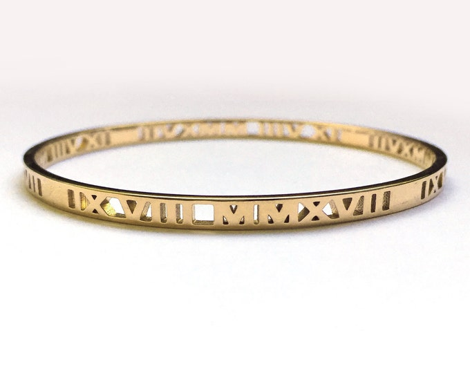 Custom Roman Numeral Bangle Bracelet | Elegant Mommy Jewelry | Repeat Pattern Up to 4 Dates | Made-to-Order | Your Special Day | Mom Style