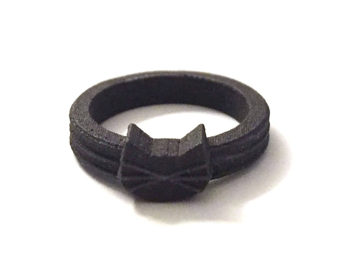 Halloween Jewelry | Black Cat Ring | Matte Black Steel | 3D Printed Textured Metal | Cat Lovers Gifts | Crazy Cat Lady |  Black Pussy Cat