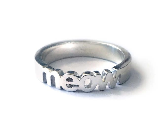 Meow Ring | Sterling Silver, Gold & Rose Gold | Cat Lover Gift | Fun Gifts | Crazy Cat Lady | Gifts for Girls | Gift Ideas for Cat Lovers