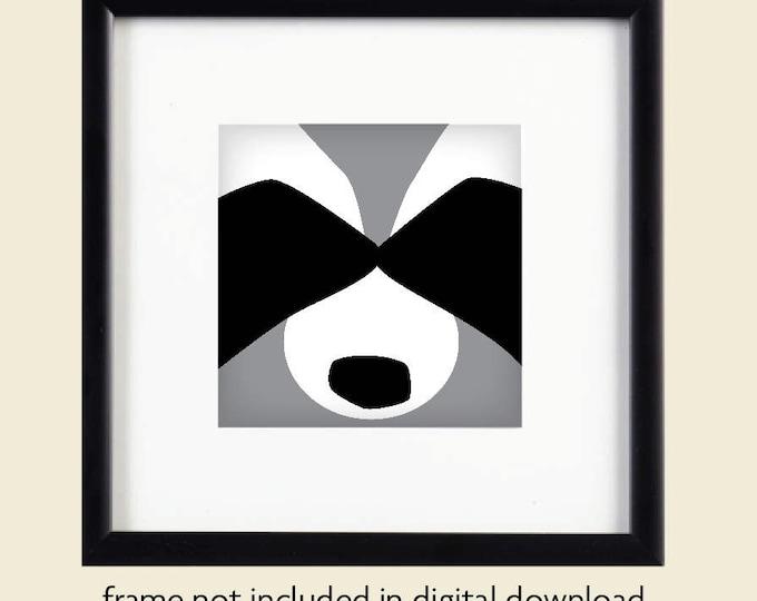 Graphic Raccoon Printable Art / Digital Download