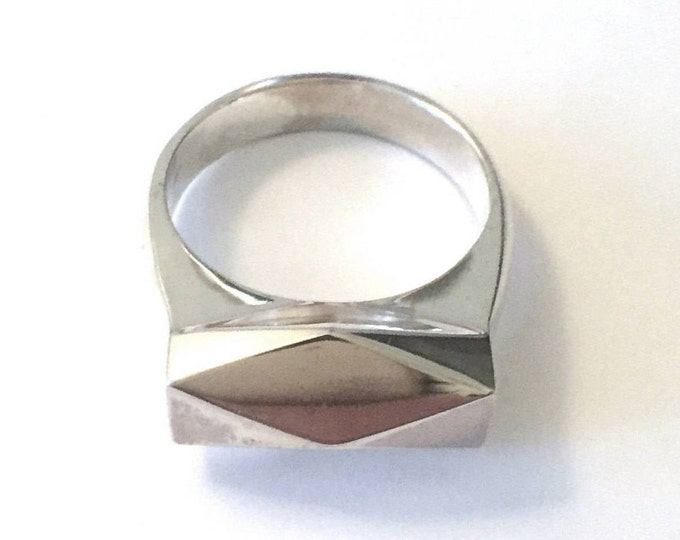 Chunky Hedron Ring in Polished Sterling Silver | Mirror-like Finish | Bold Unisex Jewelry | Solid Silver Chunky Geometric Ring | High Style