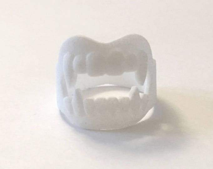 Vampire Fangs Ring | Halloween Fun | Trick or Treat | Costume Party Ideas | 3D Printed Fangs | Devil's Night | Dress Up Accessory | Teeth
