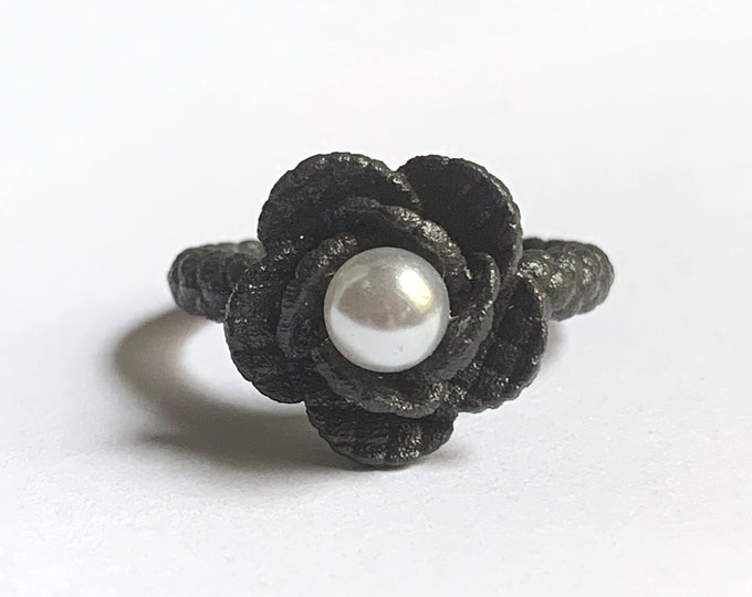 Black Steel Pearl Quilted Flower Ring | 3D Printed | Industrial x Feminine