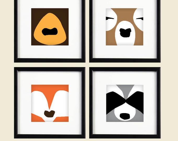 Woodland Creatures: Set of 4 Printable Art / Digital Download | Abstract Bear, Raccoon, Deer and Fox | Animal Art | Modern Wildlife Design