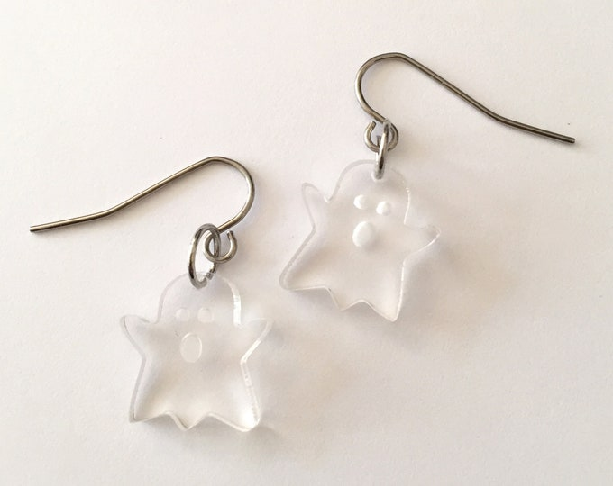 Tiny Ghost Earrings | Ghosted | Clear Ghosts | Halloween Jewelry | Fun Cute | Trick or Treat Bags | Costume Party Favors | Boo |