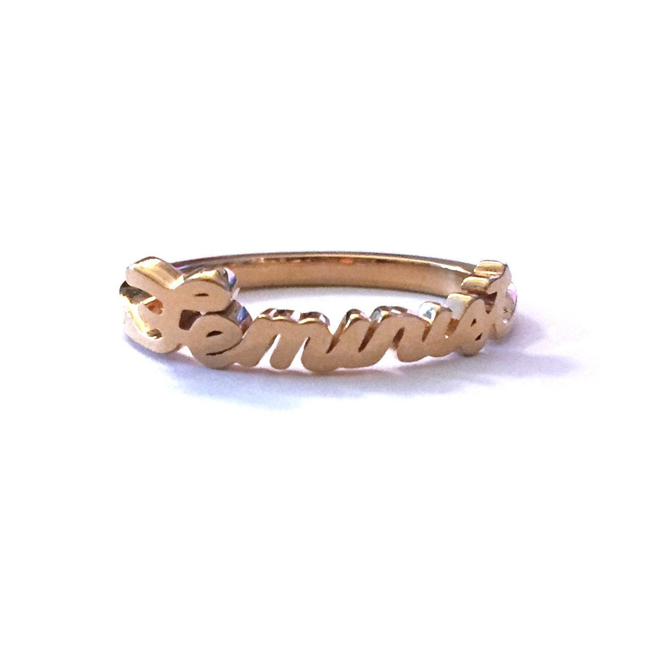 Gold Feminist Ring | Feminist Jewelry | Script Word Ring