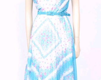 Blue floral vintage with pleated skirt 14