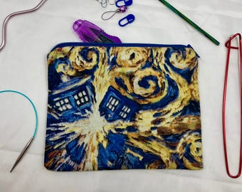Knit and crochet notion bag in exploding tardis print