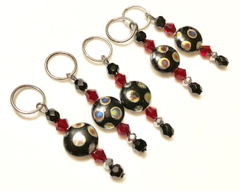 Black and red beaded stitch markers (set of 5)