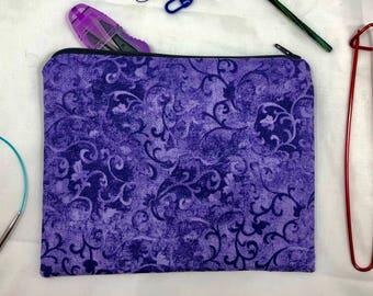 Knit and crochet notion bag in purple swirl print