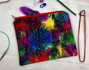 Knit and crochet notion bag in fireworks print