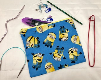 Knit and crochet notion bag in minion print