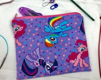 Knit and crochet notion bag in My Little Pony print