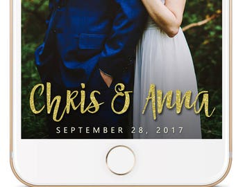 SNAPCHAT Geofilter Wedding Gold Glitter Filter, Custom Snapchat, Wedding Snapchat Geofilter, Wedding Snapchat Filter, Custom wedding filter