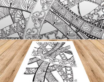 Doodled Bands - Adult Coloring Page