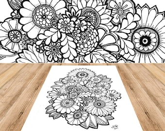 Spring Time Flowers - Adult Coloring Page