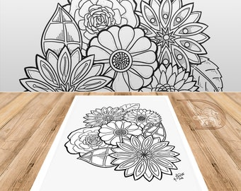 Spring Flowers 2 - Adult Coloring Page