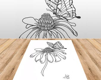 Butterfly and Flower - Adult Coloring Page