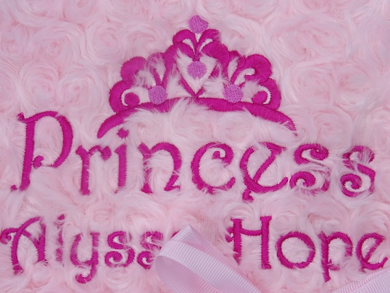 Personalised Embroidered Luxury Rose Swirl Fleece Lined Nursery Blanket UNIQUE Newborn Baby Boy or Girl GIFT and KEEPSAKE 100cm x 75cm Pink - Names Blanket