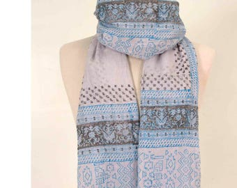 Aztec Scarf, Boho Scarf, Indian Scarf, Ethnic Scarf, Cotton Scarf, Spring Scarf, White Scarf, Women Scarf, for her, Blue Scarf, Beach Scarf