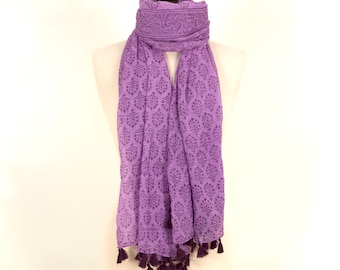Purple Scarf, Indian Scarf, Summer Scarf, Beach Scarf, Purple Cover Up, Beach Dress, Gift for her, Purple Gift, Girl Scarf