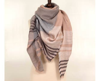 Beige Pink Blanket Scarf, Plaid Scarf, Oversized blanket Scarf, Winter Scarf, Soft Blanket Scarf, Wool Shawl, Wool Scarf, for her
