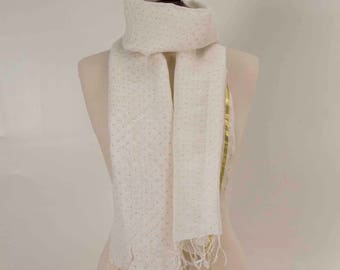 White Scarf, Dot Scarf, Fringe Scarf, , Linen Scarf,Women Scarf, Chic scarf, Fashion Scarf, Mom Scarf, Dot scarf, Elegant Scarf,Gift for her