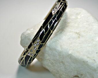 Black Enamel and Clear Rhinestone Gold Tone Bracelet
