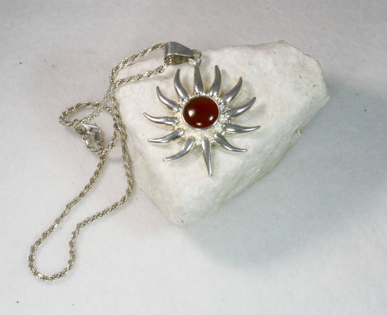 Sterling Silver Amber Starburst Necklace