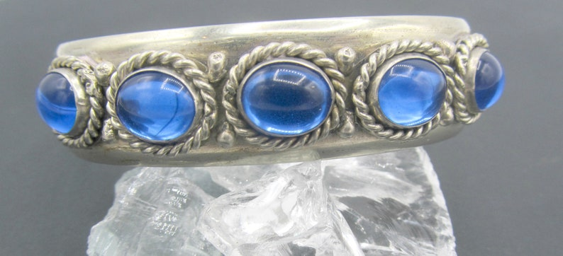 Sterling Silver and Faux Sapphire Cuff Adjustable Bracelet