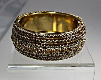 Vintage Gold and Rhinestone Beaded Clamper Bracelet