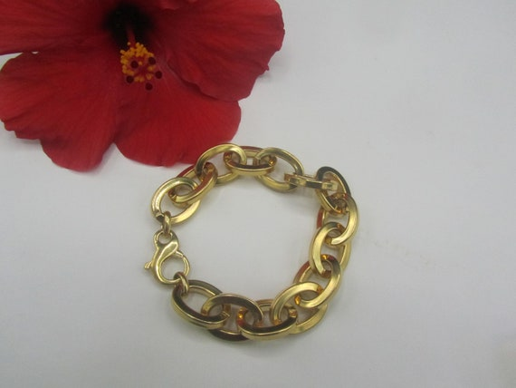 Vintage 18k Gold Plated Oval Link Cable Chain Brac