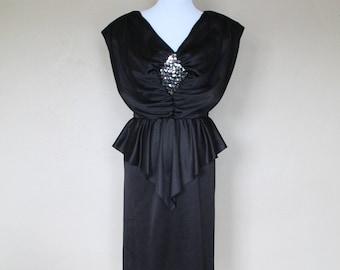 1980s Vintage Black Disco Diamond Peplum Dress