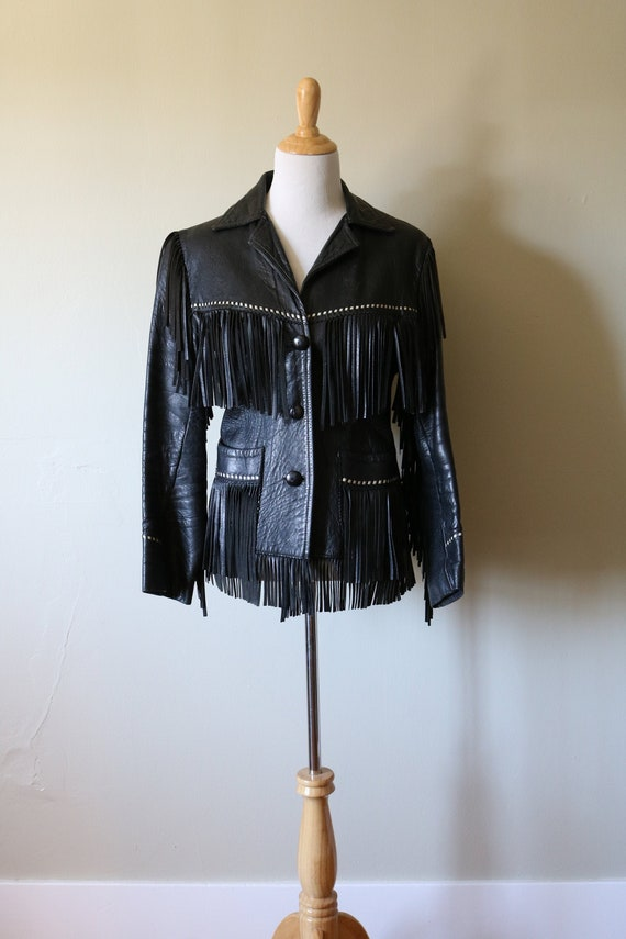 1970s Vintage Black Fringed Leather Jacket