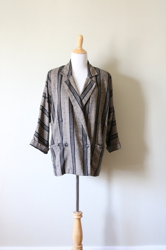 1990s Vintage Slouchy Striped Tan and Black Blazer - image 1