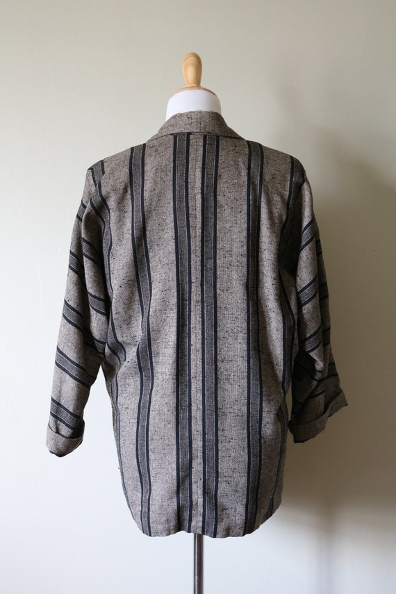 1990s Vintage Slouchy Striped Tan and Black Blazer - image 5