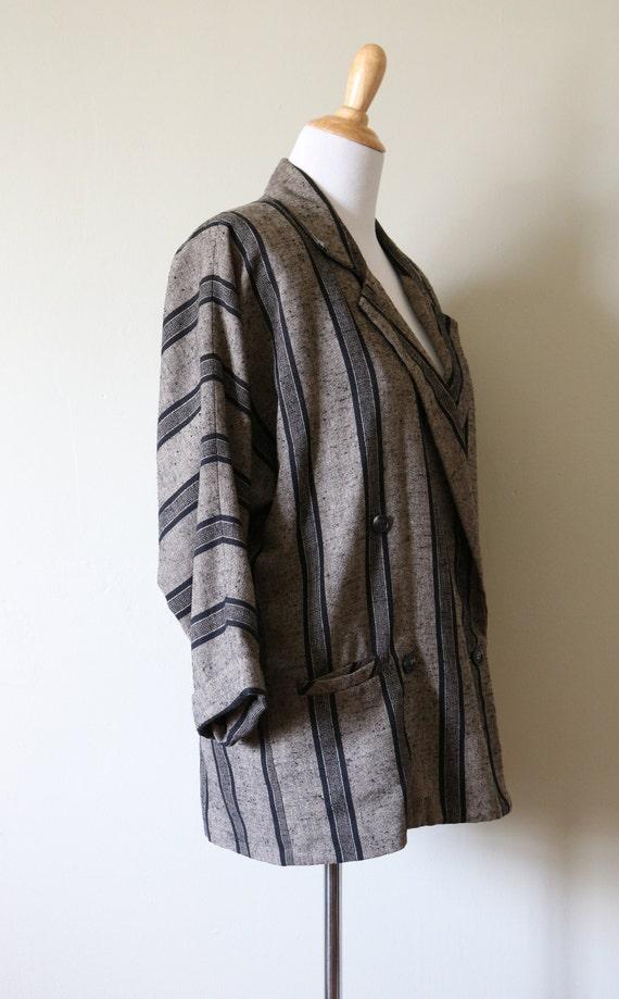 1990s Vintage Slouchy Striped Tan and Black Blazer - image 4