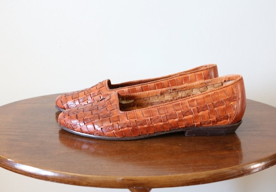 1980s Vintage Woven Leather Flats