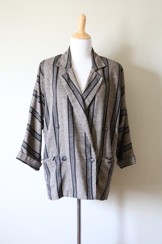 1990s Vintage Slouchy Striped Tan and Black Blazer - image 2