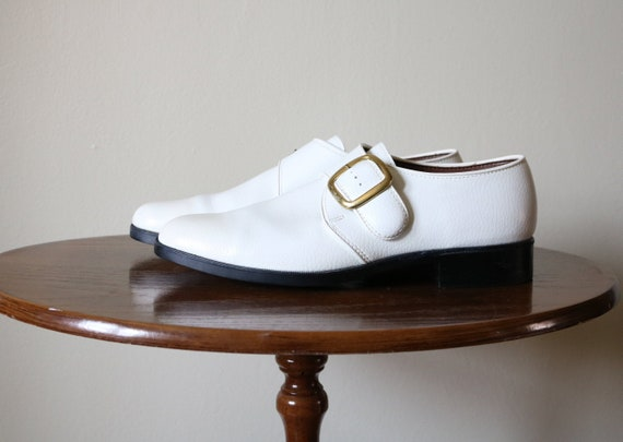 1970s Vintage White Buckle Shoes