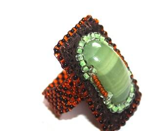 Statement ring Boho ring Dainty ring Beaded ring Leather ring Brown ring Gemstone ring Boho jewelry Jewelry gifts Wife statement jewelry