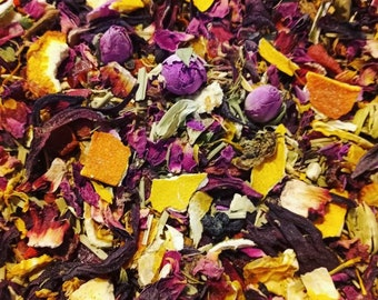 Change of heart tea blend with orange raspberry blueberry and hibiscus