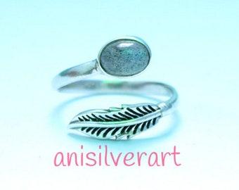 Labradorite Ring, Labradorite Stone Ring, Adjustable Feather Ring, Sterling Silver Ring, Leaf Ring, Midi Ring, Girls Ring, Gypsy Ring