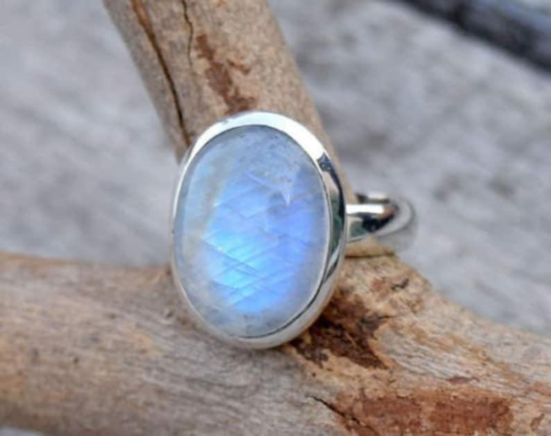 Beautiful Moonstone ring Stone ring Silver ring Rainbow image 0