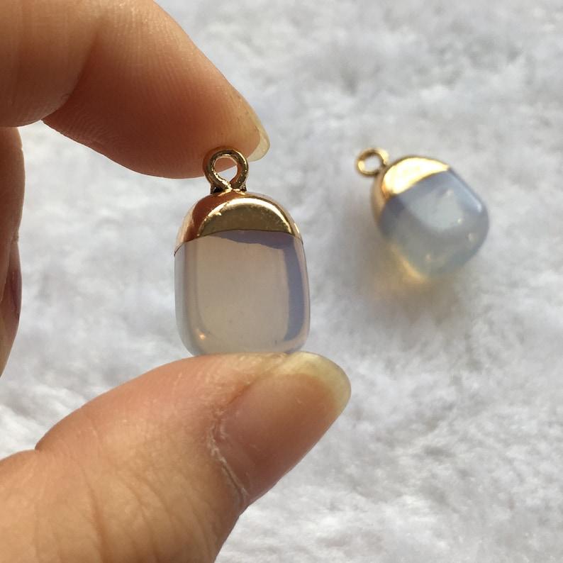 6pcs 11*19mm Gold Framed Resin Clear Stone Charm Pendant Drusy Charm Pendants DR135