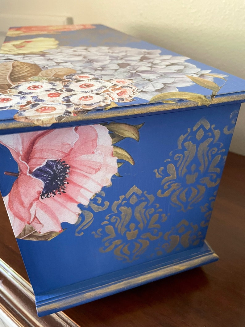 Large Jewelry Box Cottage Chic Hand Painted Indigo Blue and Goldleaf Decor Transferred and Stenciled Shabby Chic Gift for Her