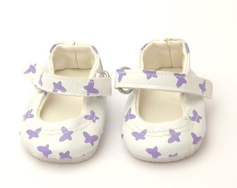 Doll Shoes - White Mary Jane Doll Shoes with Purple Butterfly print for Baby Born, Baby Born Sister and Baby Alive Dolls