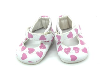 DOLLS SHOES | White Mary Jane Doll Shoes with Pink Heart print for Baby Born, Baby Born Sister and American Girl Dolls