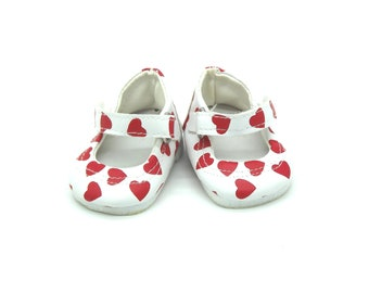 DOLLS SHOES | White Mary Jane Doll Shoes with Red Heart print for Baby Born, Baby Born Sister and American Girl Dolls